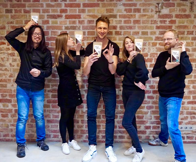 Das ChillChoc Team (von links nach rechts): Dave Tjiok, Lena Glässel, Christian Veit, Laura Rothgang, Burkhard von Stackelberg