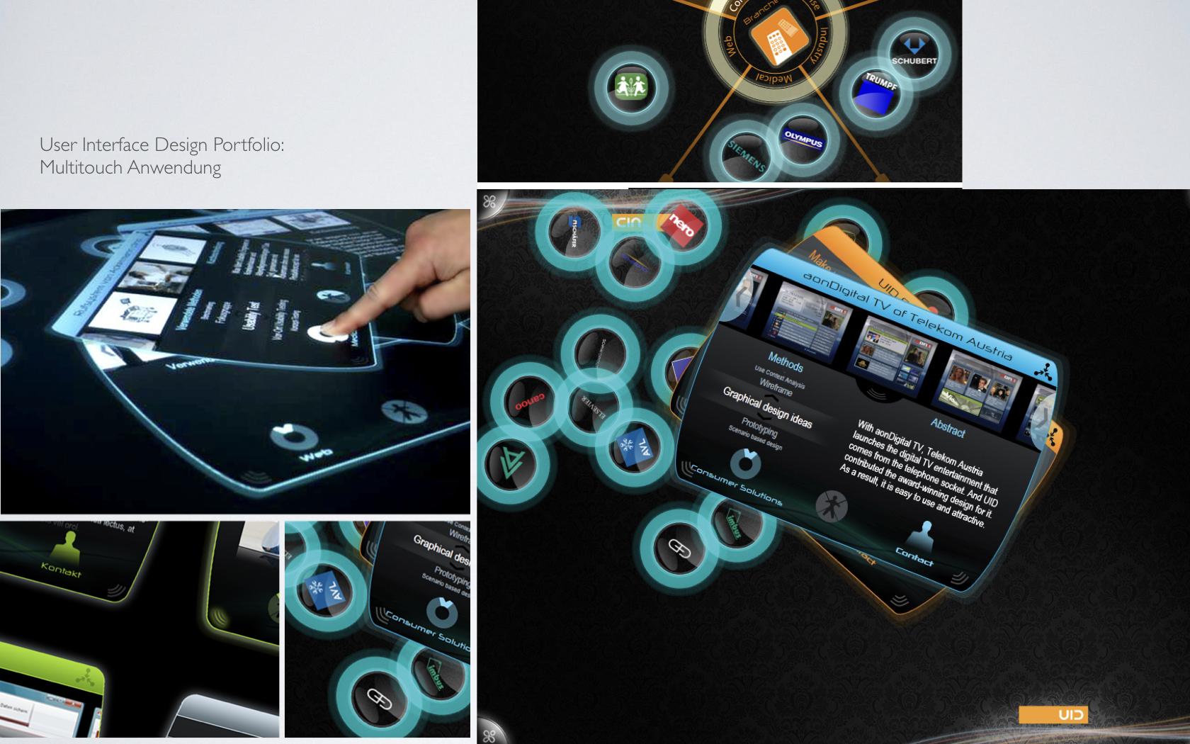Darstellung des Multitouch Tabes, den Cristián Acevedo Zambrano in seiner Masterarbeit bei UID entwarf