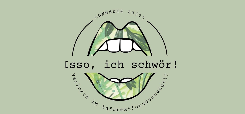 """Logo CONMEDIA 2021 mit Slogan """"Isso, ich schwör!"""""""